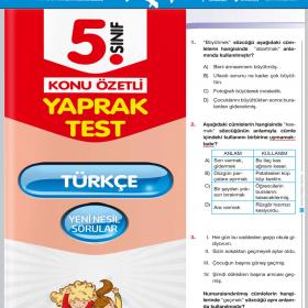 Evrensel Yay. 5. Sınıf Türkçe Konu Özetli Yaprak Test