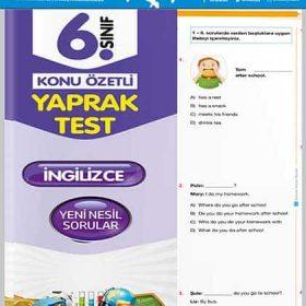 Evrensel Yay. 6. Sınıf İngilizce Konu Özetli Yaprak Test