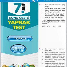 Evrensel Yay. 7. Sınıf Türkçe Konu Özetli Yaprak Test